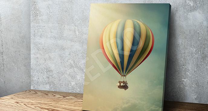Obraz retro z balonem