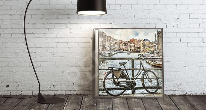 Obraz rower i kanał