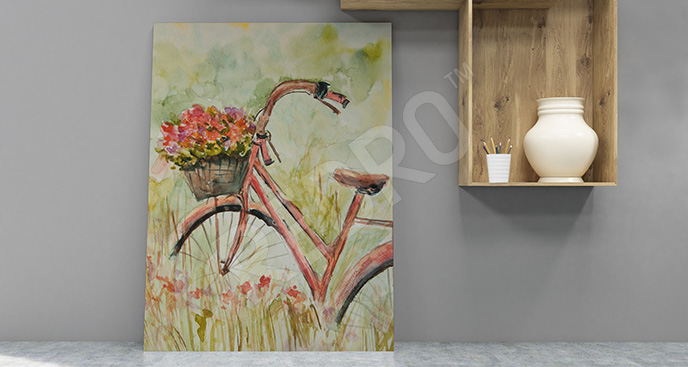 Obraz rower z koszem kwiatów