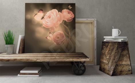Obraz róże i motyl