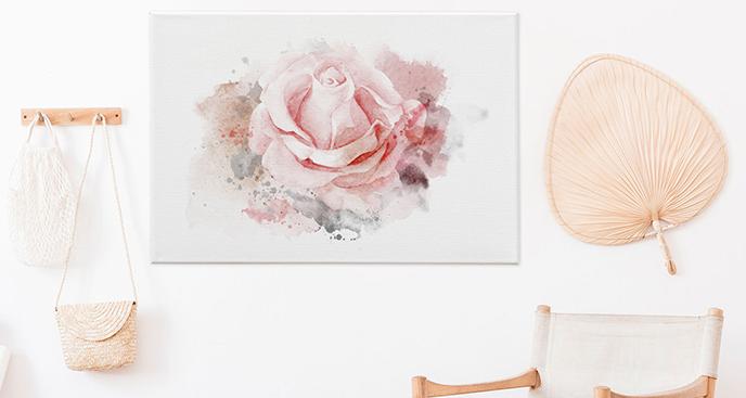 Obraz z różą - malarstwo