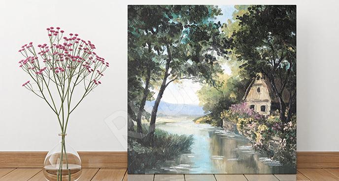 Obraz rzeka na wsi
