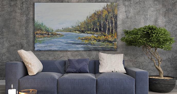 Obraz rzeka w lesie