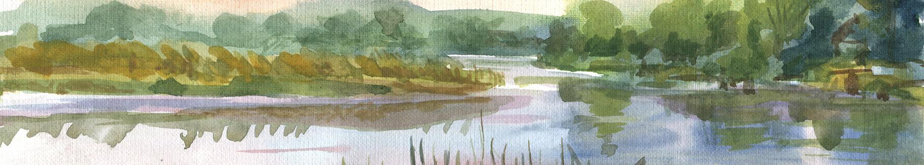Obraz rzeka wśród zieleni