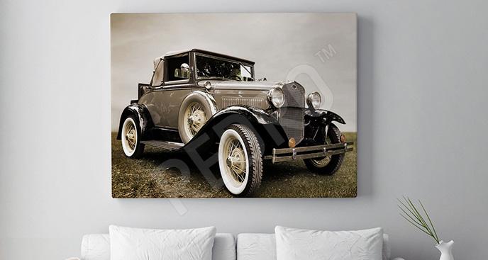 Obraz samochód retro w salonie