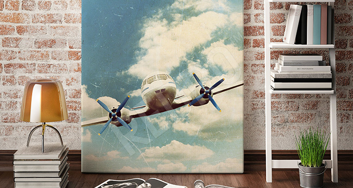 Obraz samolot w chmurach