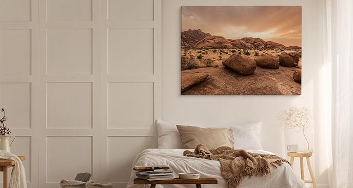 Obraz sawanna o zachodzie