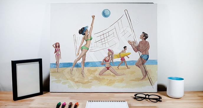 Obraz siatkówka na plaży