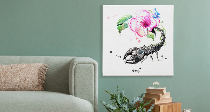 Obraz Skorpion i kwiat