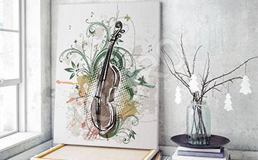 Obraz skrzypce i kwiaty