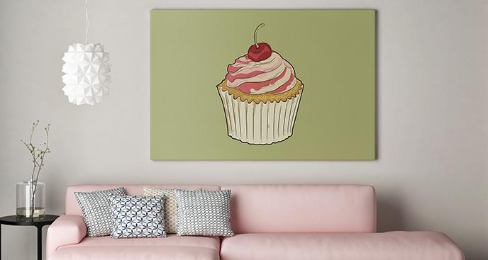 Obraz słodycze: babeczka do salonu