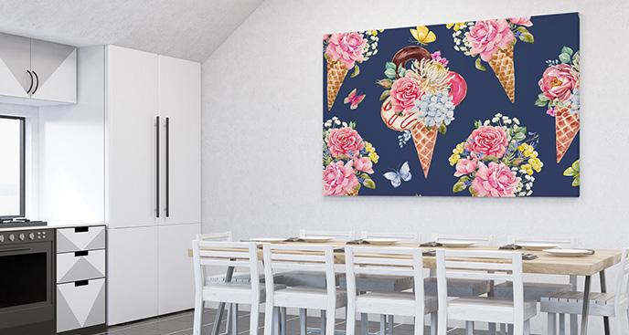 Obraz słodycze i kwiaty