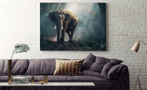 Obraz słoń w lesie