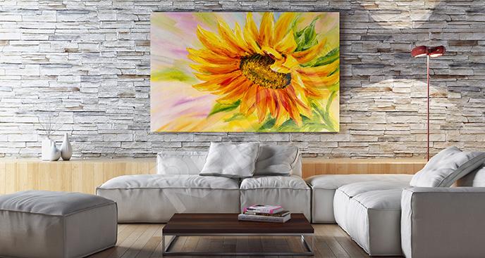 Obraz słonecznik do salonu