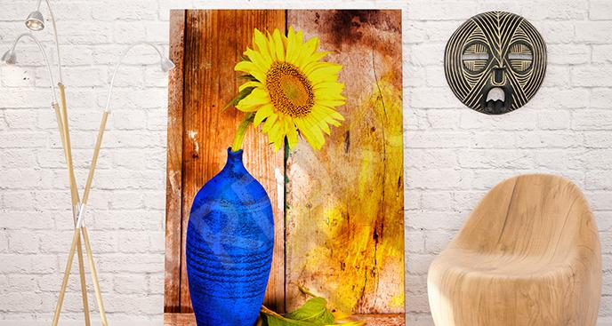 Obraz słonecznik w wazonie