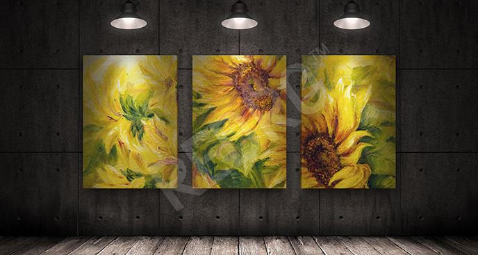 Obraz słoneczniki w ogrodzie