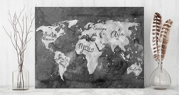 Obraz stara mapa czarno-biała