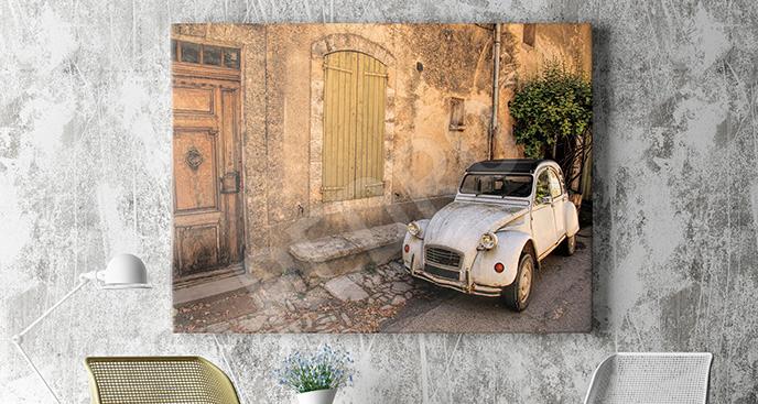 Obraz stary pojazd przy kamienicy