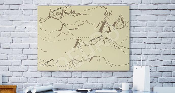 Obraz stary rysunek gór