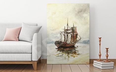 Obraz stary statek na morzu