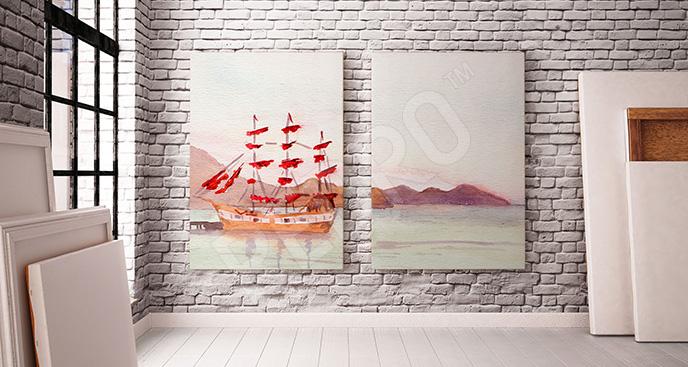 Obraz statek i krajobraz