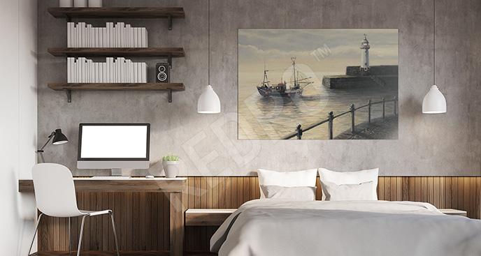 Obraz statek i latarnia morska