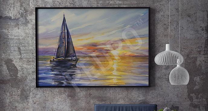 Obraz statek i zachód słońca