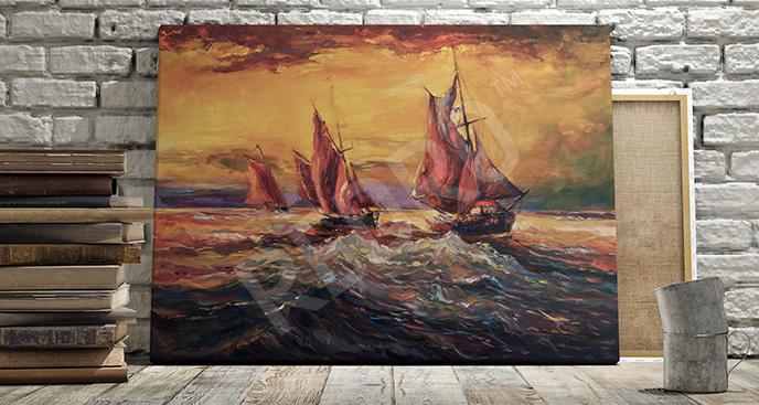 Obraz statki na wzburzonym morzu