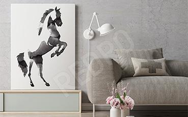 Obraz sylwetka konia czerń i biel