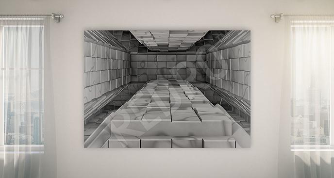 Obraz szare cegły 3D