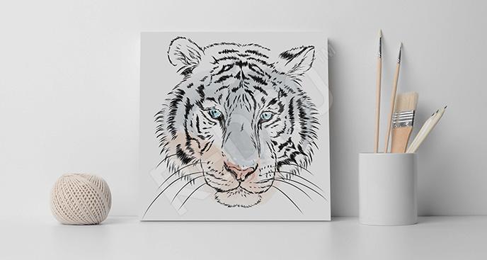 Obraz szkic dzikiego kota