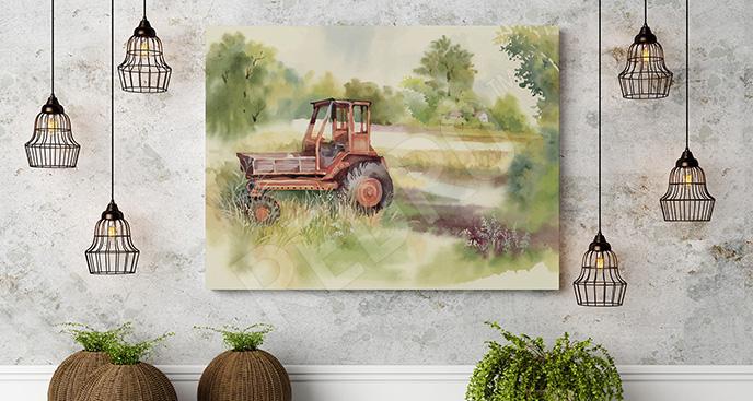 Obraz traktor w polu