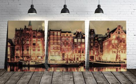 Obraz tryptyk z Amsterdamem