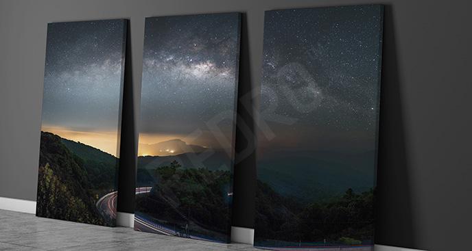 Obraz tryptyk z galaktyką
