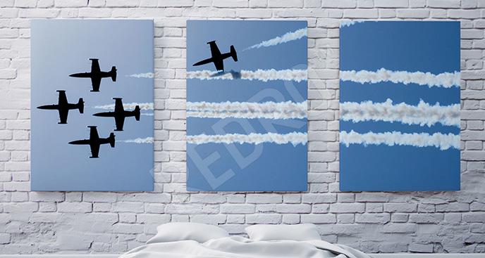 Obraz tryptyk z myśliwcami