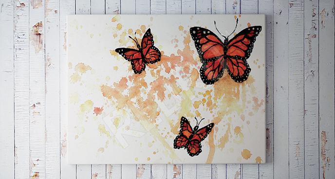 Obraz trzy motyle