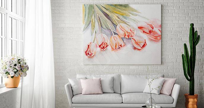 Obraz tulipany w czerwieni