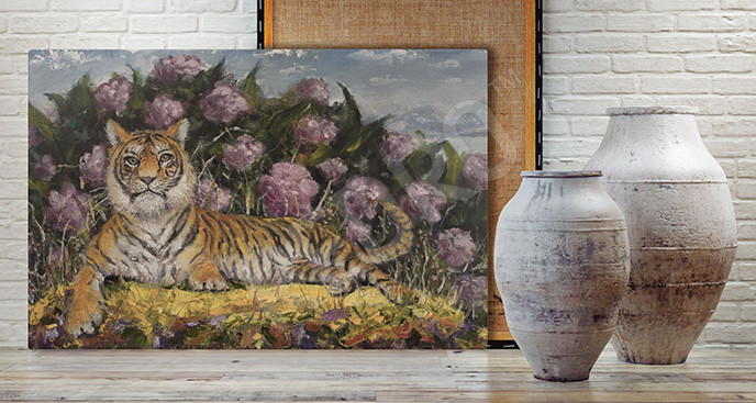 Obraz tygrys na tle kwiatów