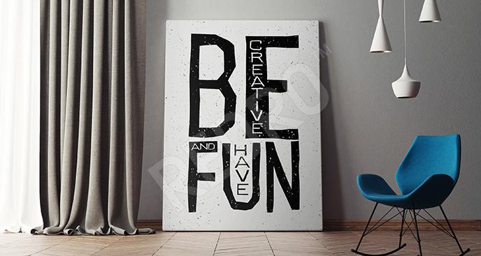 Obraz typograficzny czarno-biały