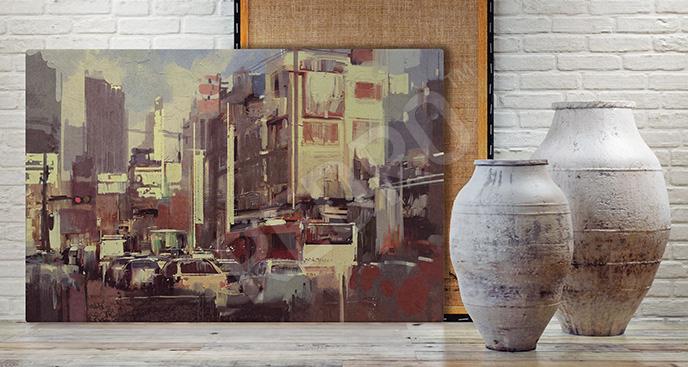 Obraz ulice akwarela
