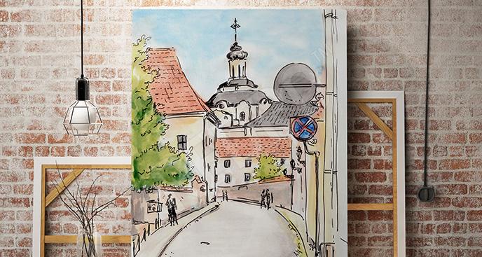 Obraz uliczka malowana akwarelą