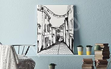 Obraz uliczka w czerni i bieli