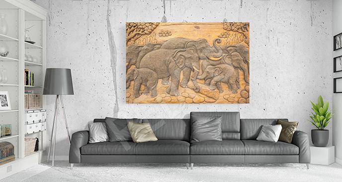 Obraz w stylu boho słonie