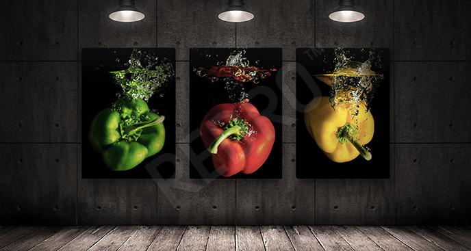 Obraz warzywa na czarnym tle