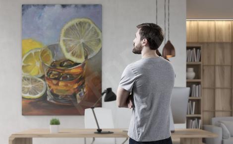 Obraz whiskey z lodem