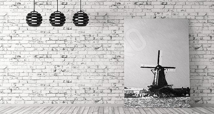 Obraz wiatrak czarno-biały
