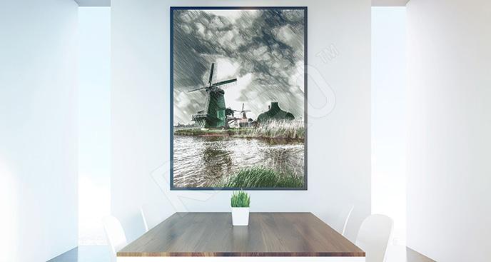 Obraz wiatrak holenderski