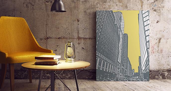Obraz wieżowce do industrialnego salonu