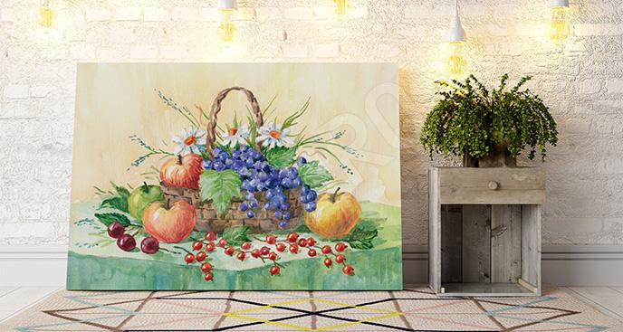Obraz wiosenny kosz owoców