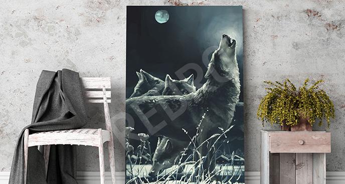 Obraz wyjące wilki
